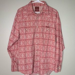 Lucky Brand Red Western Button-Down Cotton Shirt L